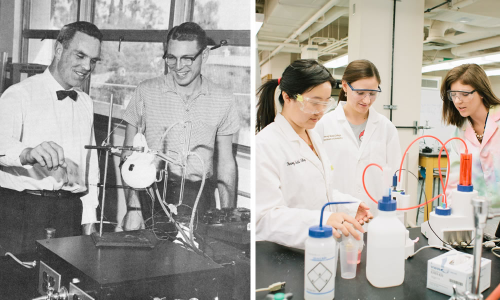 Old and new photos of faculty and students in chemistry lab.