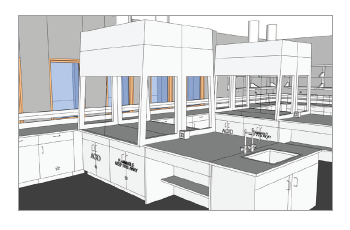 Render of advanced chemistry lab after renovation.