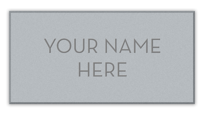 """Floor tile with inscription """"Your name here."""""""