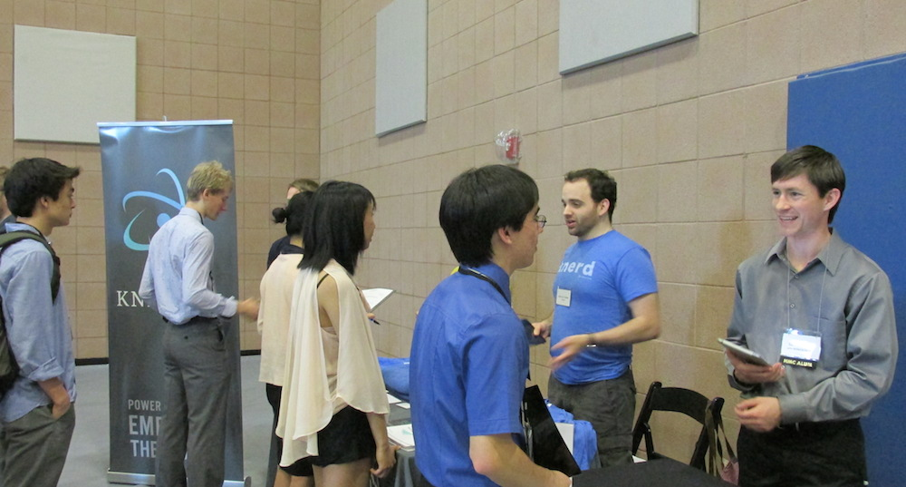 Employers talk to students at career fair