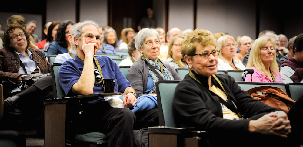 Families attend lecture at family weekend.
