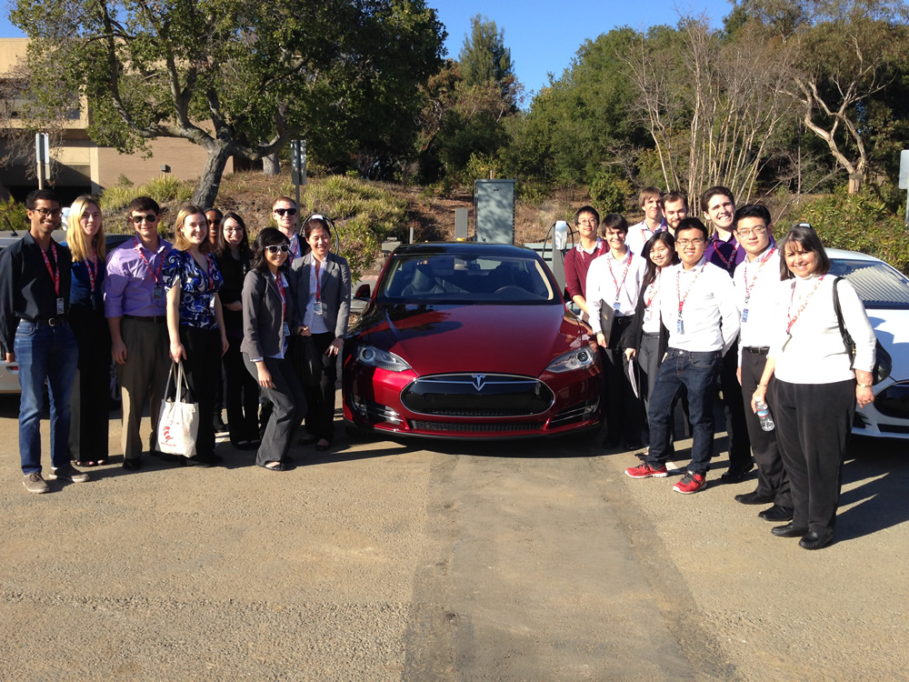 HMC group with new Tesla at the headquarters in Palo Alto