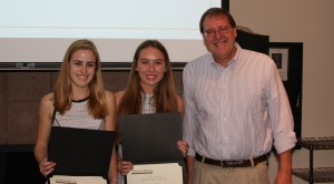(left-right) Elyse Pennington '17, Emma Klein '17, and Professor Cave