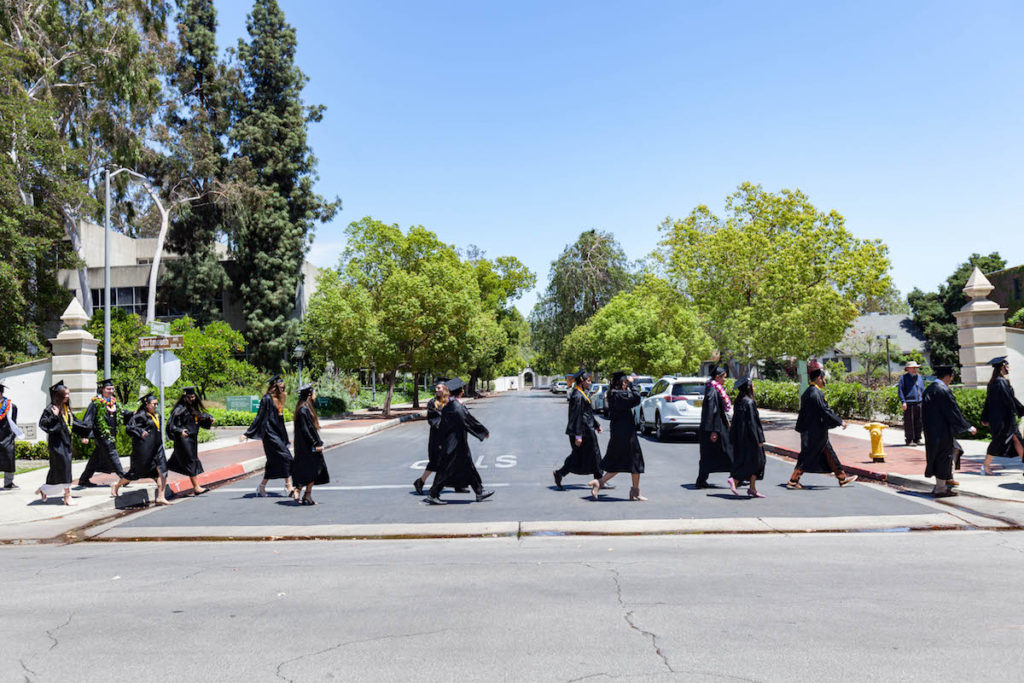 Students heading toward commencement