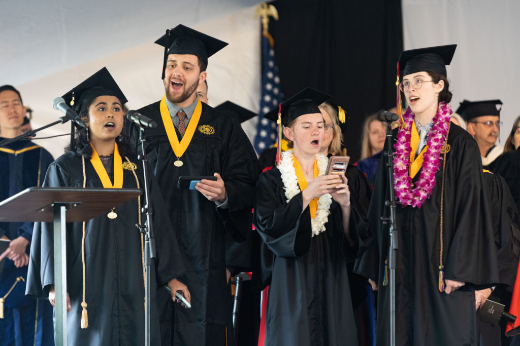 Chemistry major singing during commencement 2019