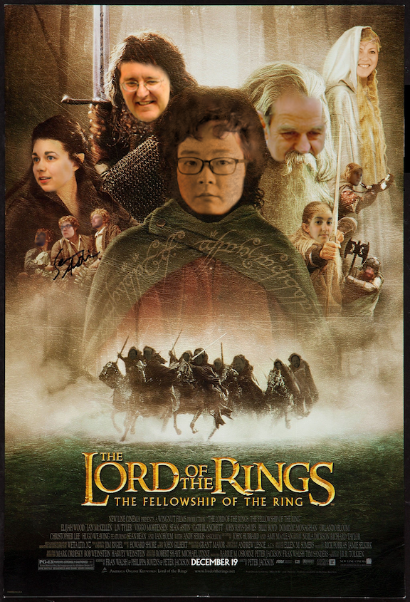 Lord of the Rings poster with summer student and HMC faculty representation in place of original actors