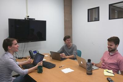 Elly Schofield working with Prof. Jim Boerkoel and Filip Skrzensinski '17 on a project.