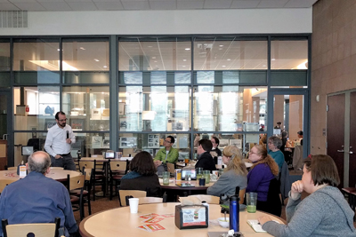 Sam Kome from Honnold Library presenting at A Bite of Learning in Spring 2017. The title of his presentation was Researcher Activity Monitoring and Privacy Protection.