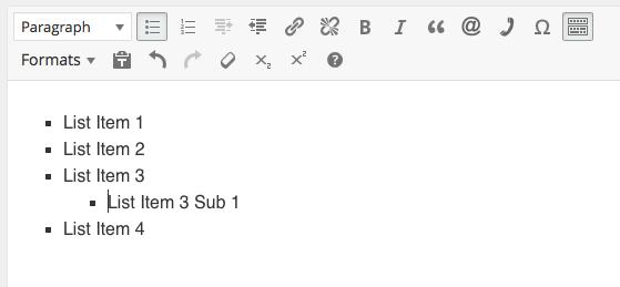 WordPress bulleted list step 5