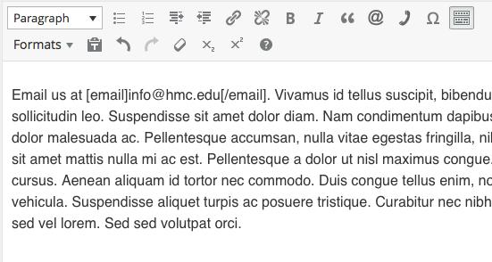 WordPress formatting email address step 2