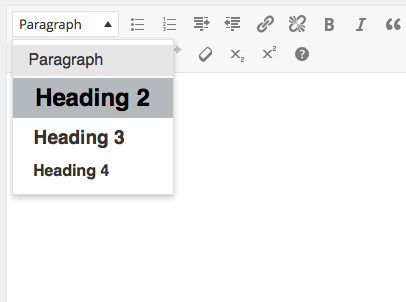 WordPress editor: creating heading step 2