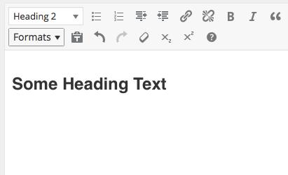 WordPress editor: creating heading step 3