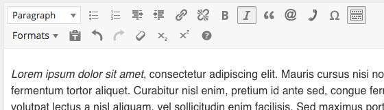 WordPress italics step 2