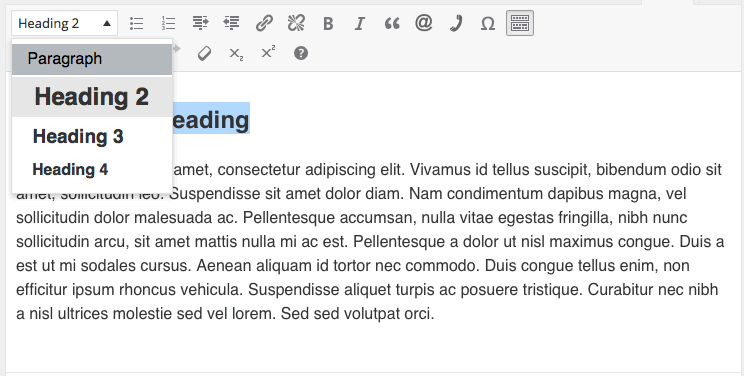 WordPress editor, turning a heading to a paragraph