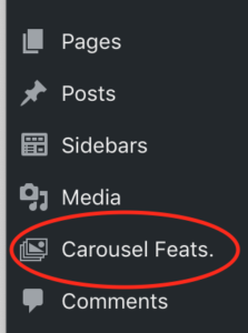 Position of the 'Carousel Feats.' option in the dashboard menu.