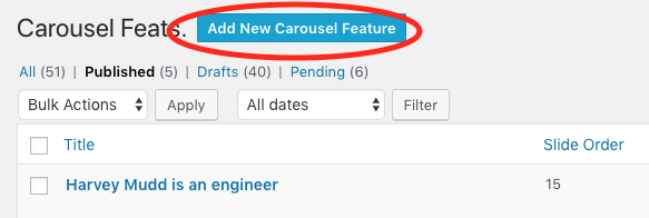 Location on admin screen of button to add new carousel feature.