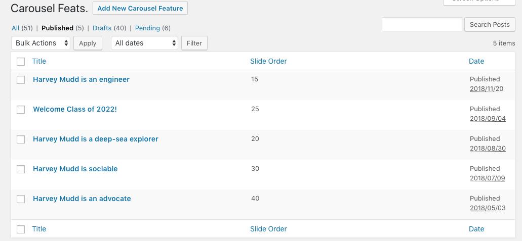 Carousel admin page in WordPress backend.