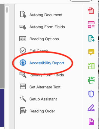 Showing accessibility report option in Adobe Acrobat Pro