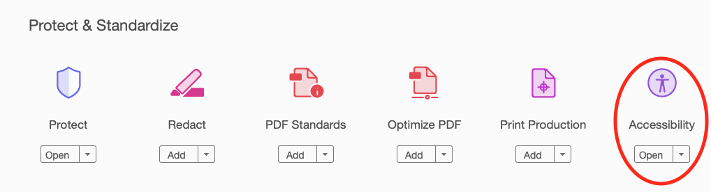 Showing accessibility option in Adobe Acrobat Pro.