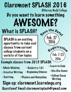 Splash 2016 Student Flyer