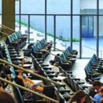 Students in lecture auditorium.