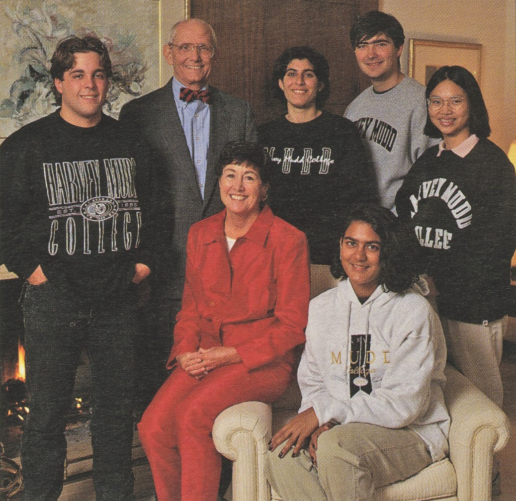Riggs with his wife Gayle and students.