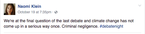 Climate activist Naomi Klein sharing her outrage regarding lacking discussion about climate change in the presidential debates