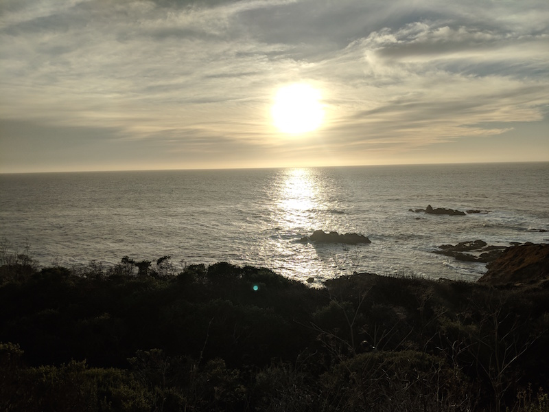 View of Sunset over Pacific Ocean from Highway 1