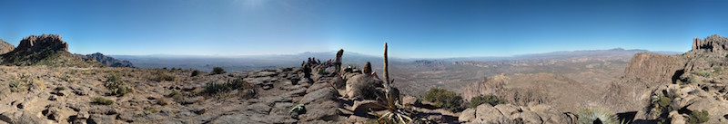 Panoramic view from the top of the Flatiron Trail