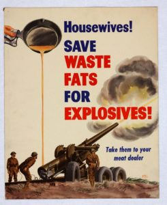 Wartime advertisement on saving waste fats for explosives