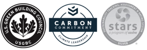 Logos of US Green Building Council, Second Nature's Carbon Commitment and AASHE's STARS Silver