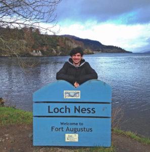 Harvey Mudd student Casey Gardner '19 at Loch Ness in the Scottish Highlands.