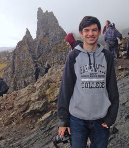 Harvey Mudd student Casey Gardner '19 at the Old Man of Storr (a well-known rock formation), Isle of Skye.