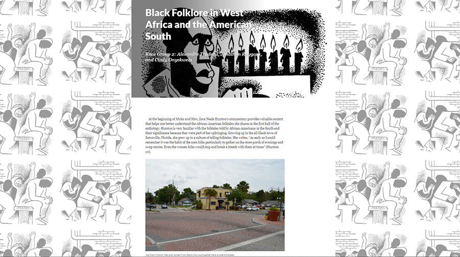 "A screen shot of an HMC student's digital humanities project on ""Black Folklore in West Africa and the American South"""