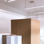 Portable walls in Sprague Gallery, Harvey Mudd College