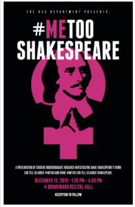 Poster for MeToo Shakespeare class taught by Ambereen Dadabhoy