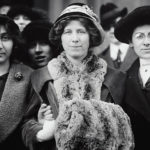 "Photograph shows suffrage and labor activist Flora Dodge ""Fola"" La Follette, social reformer and missionary Rose Livingston, and a young striker during a garment strike in New York City in 1913. (Image source: Library of Congress Prints, Photographs Division)"