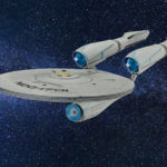 Star Trek spaceship in starry sky