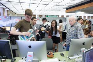 Bob Keller, left, with students testing ImproVisor