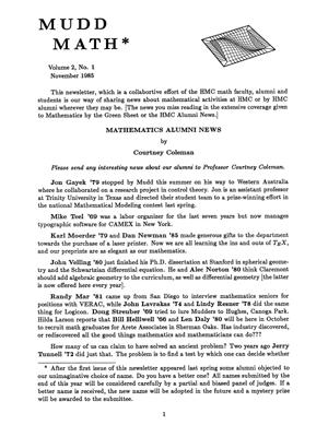 Cover of 1985 MuddMath Newsletter.