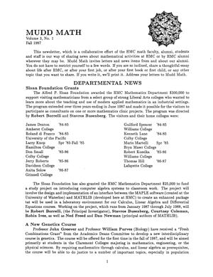 Cover of 1987 MuddMath Newsletter.