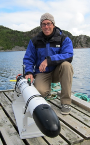 Chris Clark poses with AUV