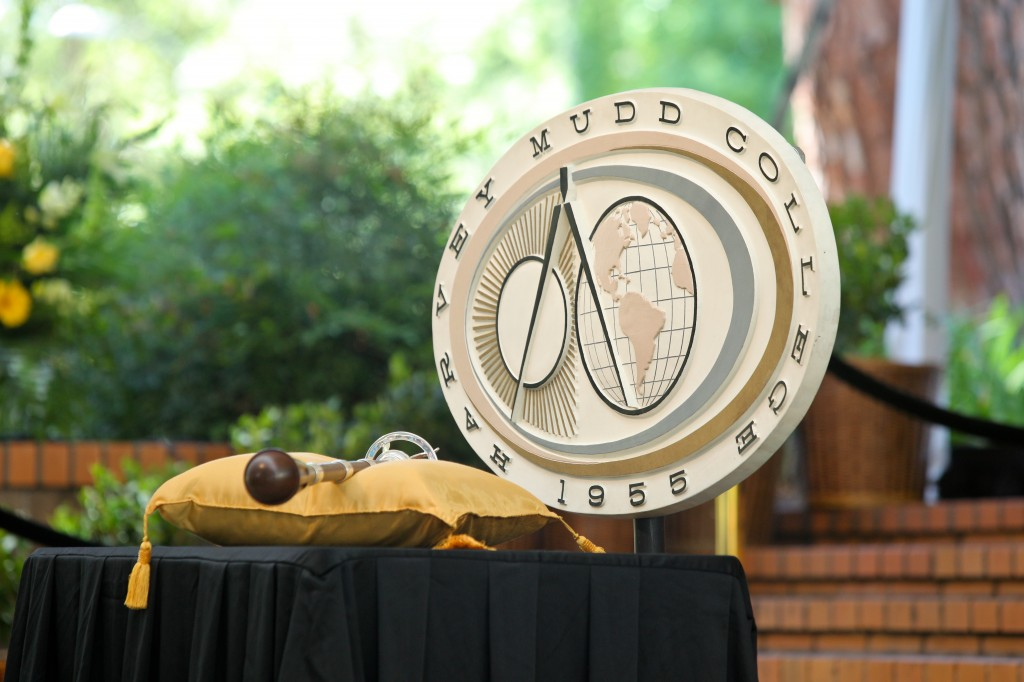 Harvey Mudd College seal at commencement.