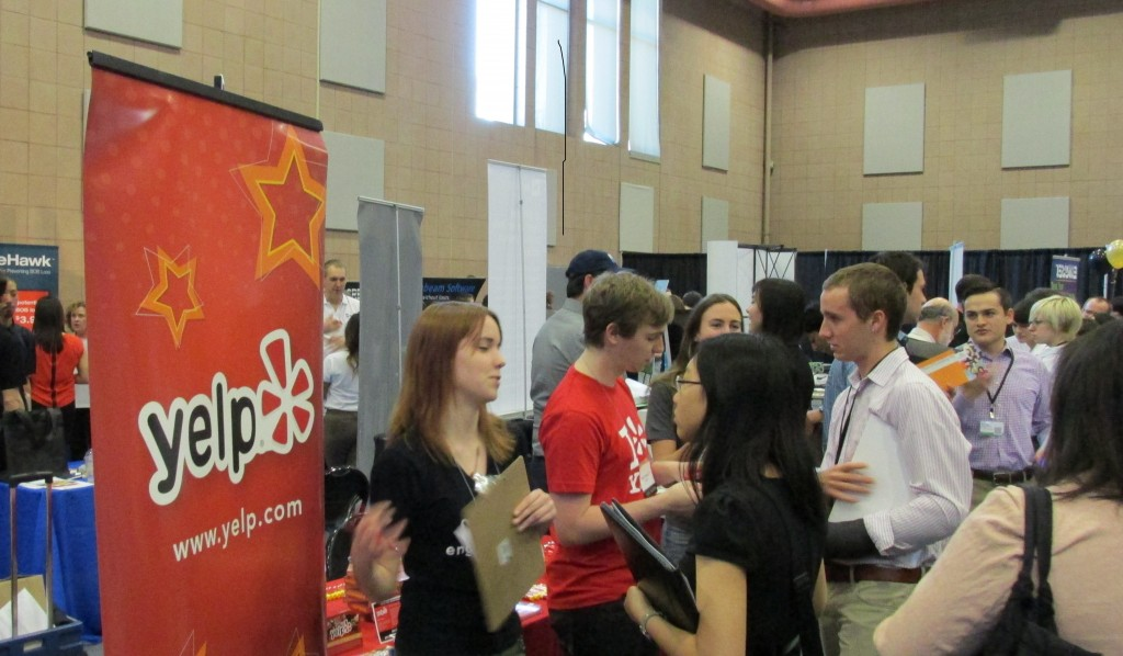 Yelp table at Spring Career Fair
