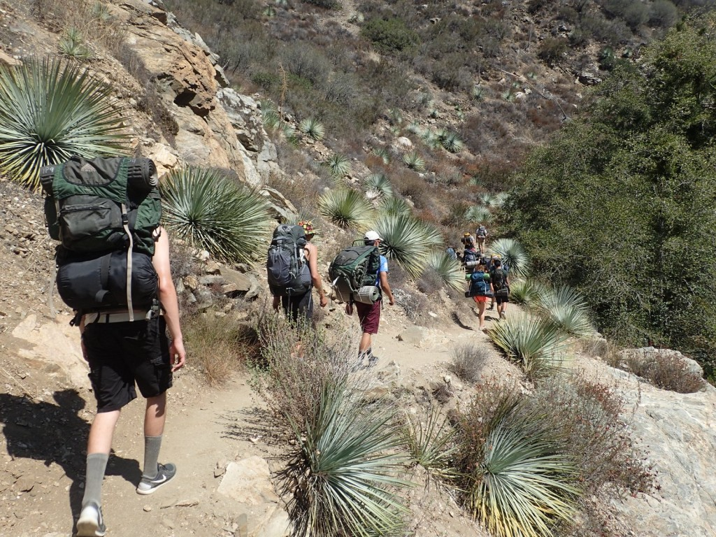 Students hike a mountain trail.