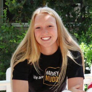 """Orientation Head Mentor Jessica Marvin wearing A """"We are Harvey Mudd t-shirt."""""""