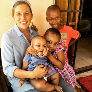 Rachel with some of her homestay family.