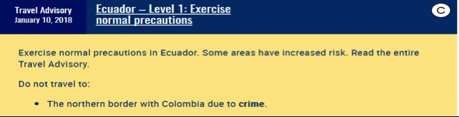 Travel rating example. Described under heading Ecuador Example below.