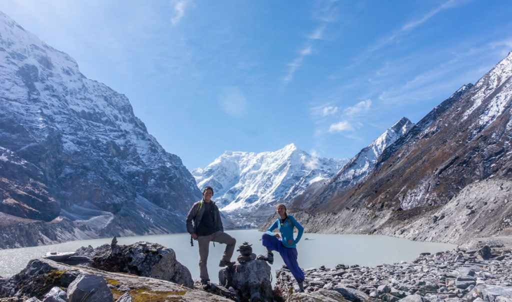 Two students at mountain glacial lake.