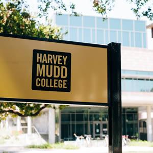 Close up of Harvey Mudd sign on campus.
